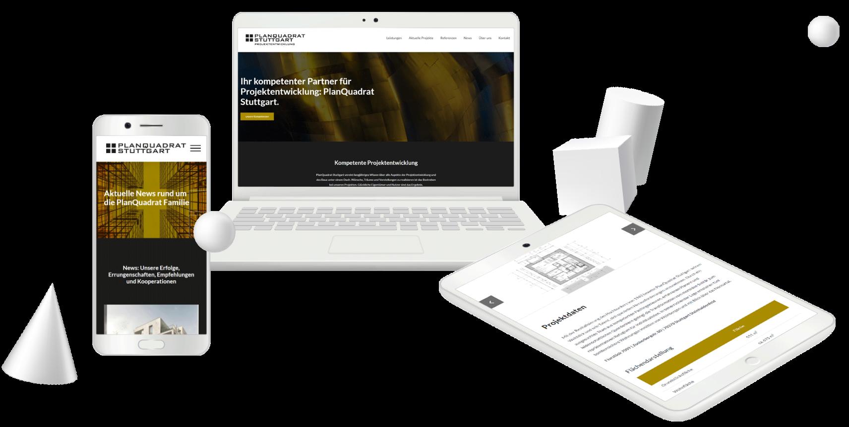 Projektreferenz Website für PlanQuadrat von MARCIS B2B-Onlineagentur